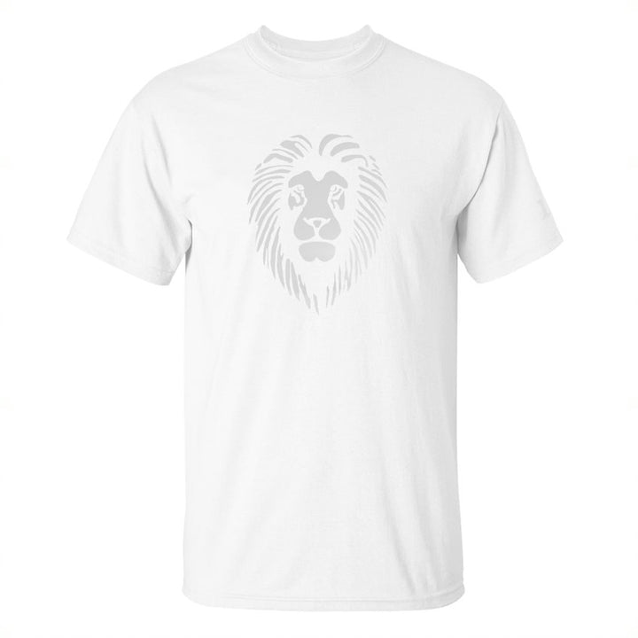 Reflective Lion Head T-Shirt - White on White