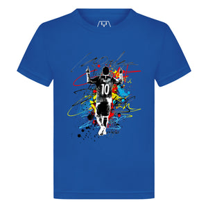 Messi La Pulga Paint Splash Kid's Graphic T-Shirt