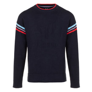 Messi M Striped Mock Neck Sweater - Navy Blue