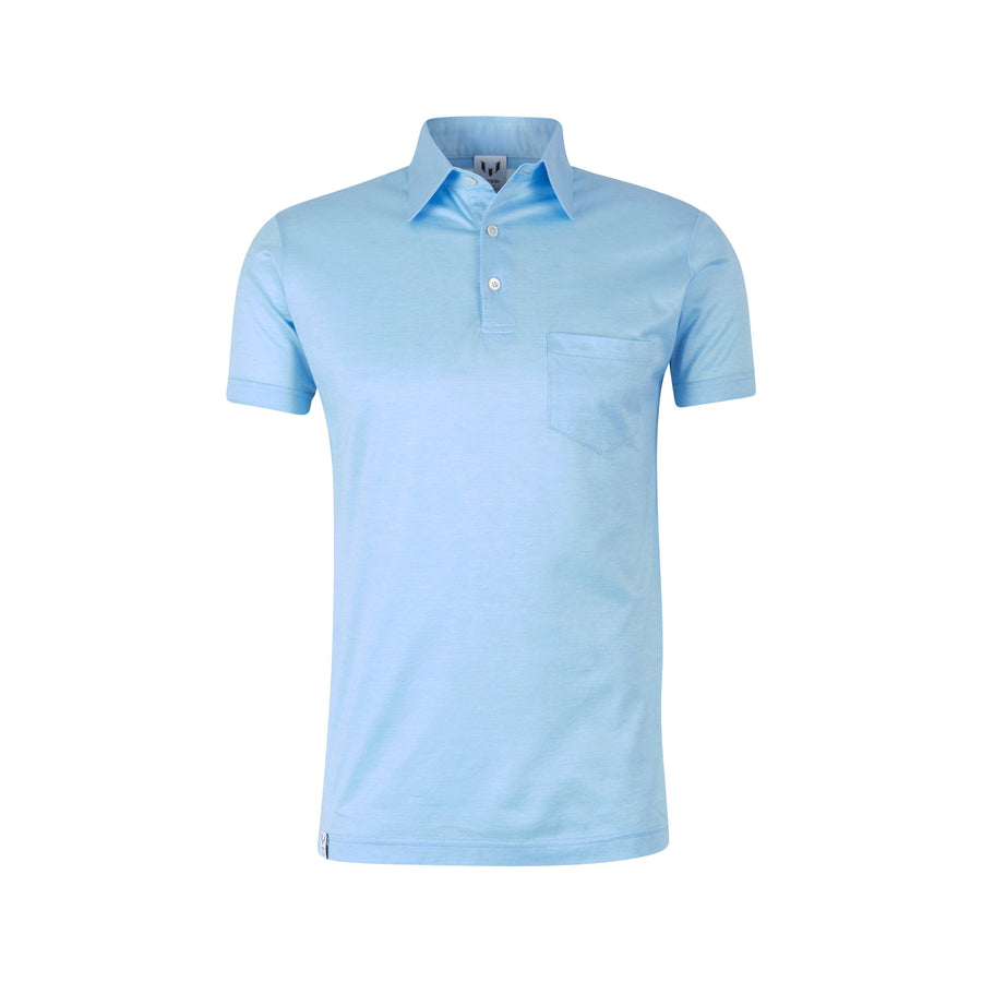 Short Sleeve Messi Blue Chest Pocket Polo