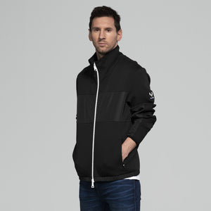 Mixed Media Funnel Jacket - BLACK