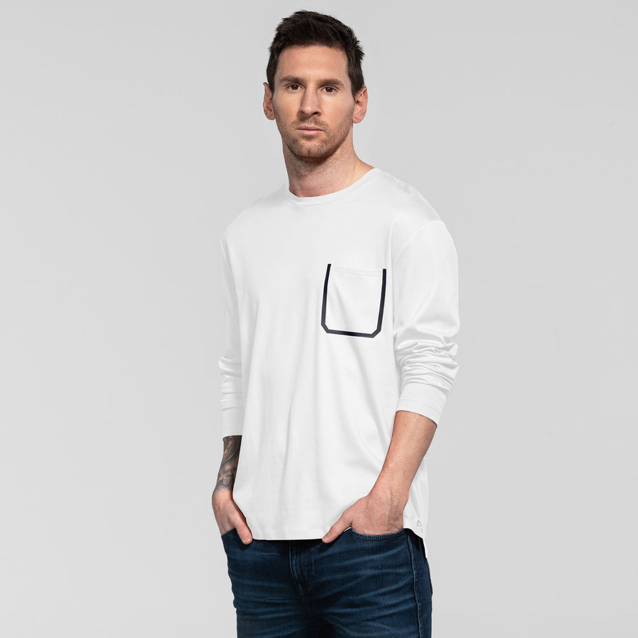 Bonded Pocket Long Sleeve Crew - White