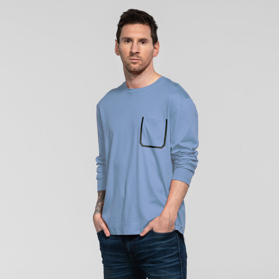 Bonded Pocket Long Sleeve Crew - Light Blue