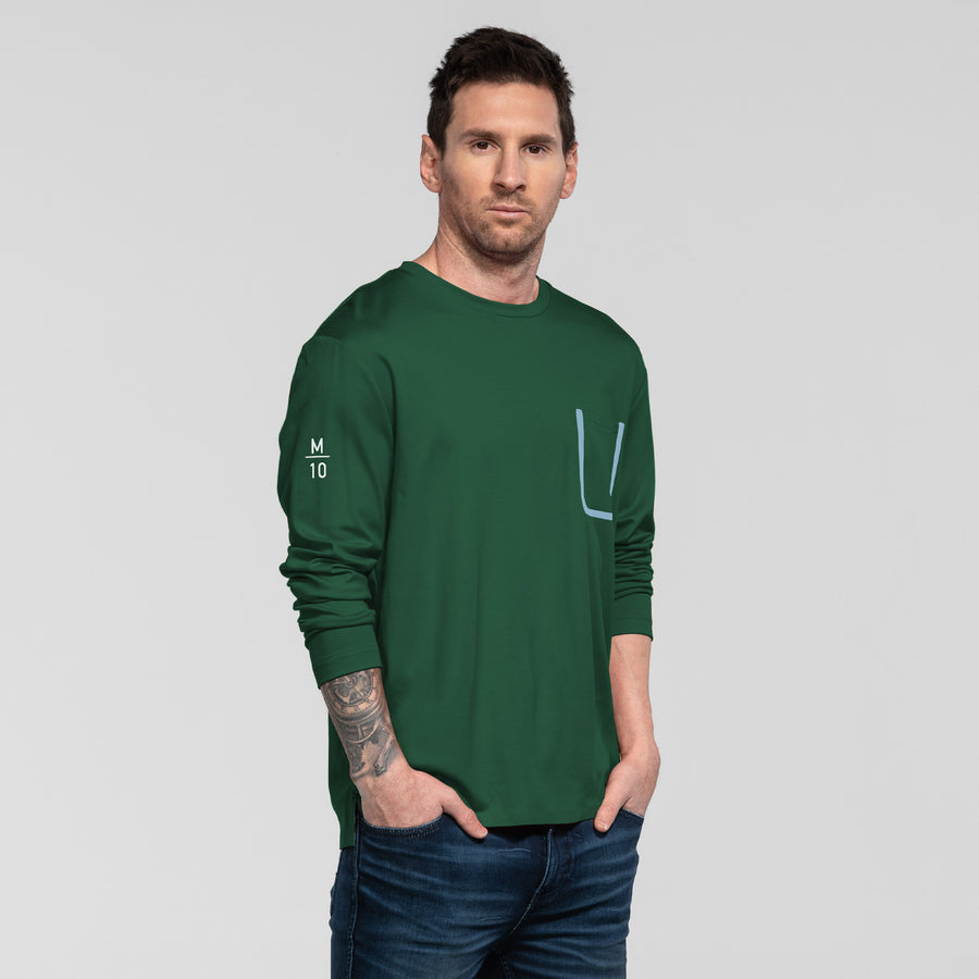 Bonded Pocket Long Sleeve Crew - Evergreen