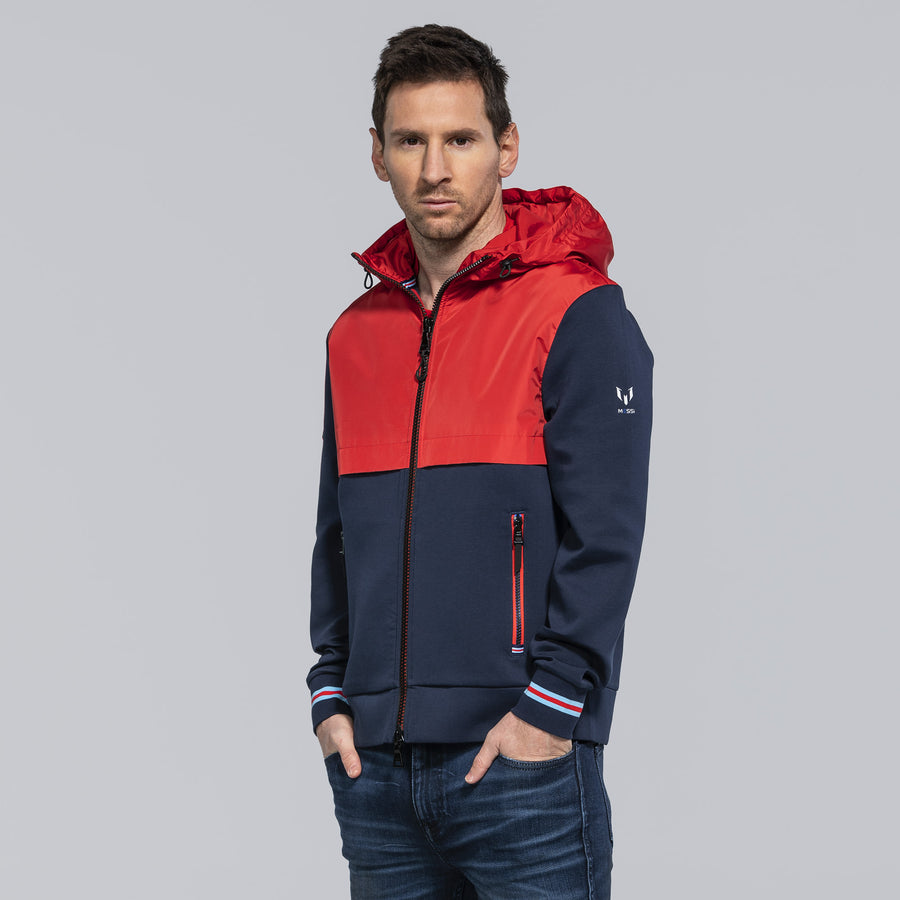 Messi Signature Stripe Hooded Jacket - Logo Red