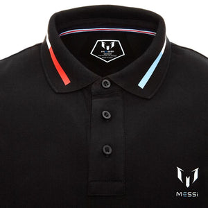 Messi Short Sleeve El-Clasico Polo Shirt Logo On Chest - Black