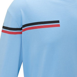Messi Dual Stripe Long Sleeve Crew Neck T-Shirt - Messi Blue