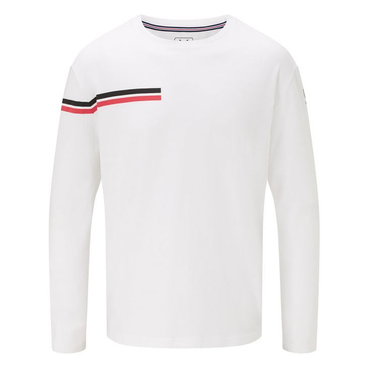 Camiseta Messi Dual Stripe Manga Larga Cuello Redondo - Blanco