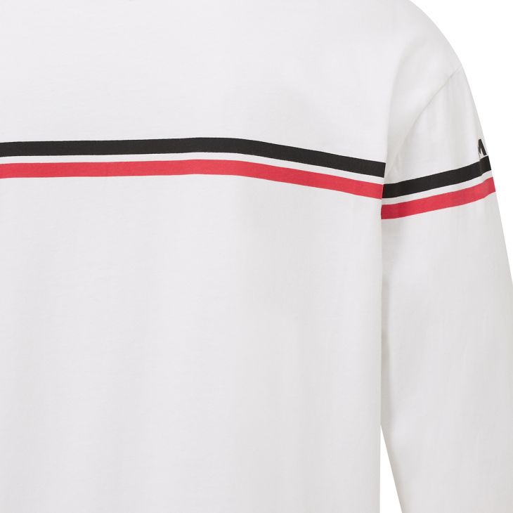Messi Dual Stripe Long Sleeve Crew Neck T-Shirt - White