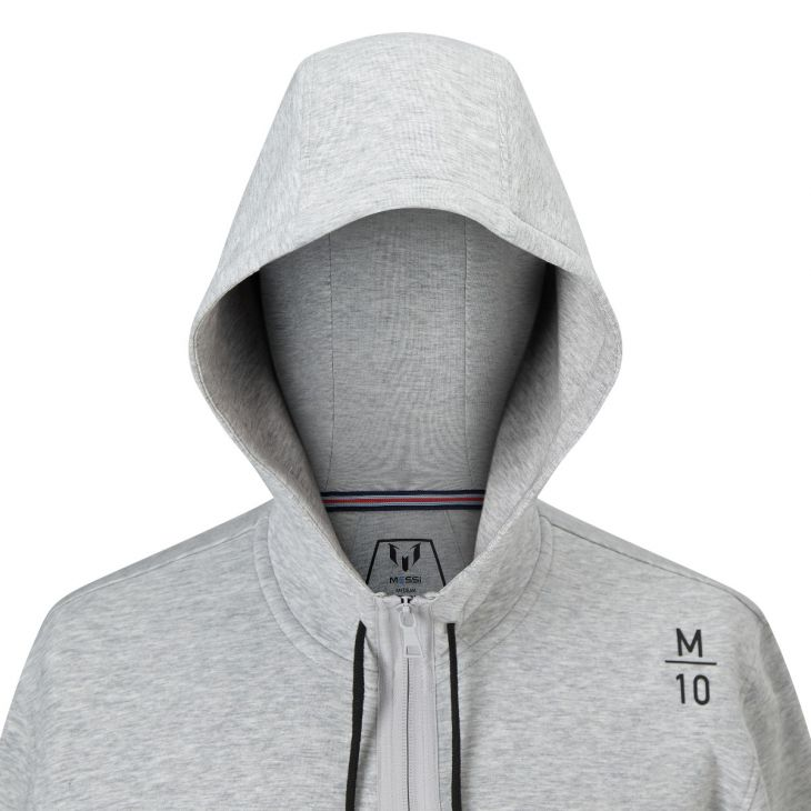Messi M10 Zip Front Hoodie - Heather Gray