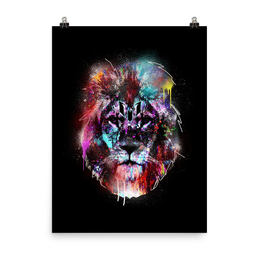 Colorful Lion Head Logo Poster