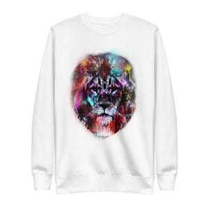 Colorful Lion Head Logo Crewneck Sweatshirt - White