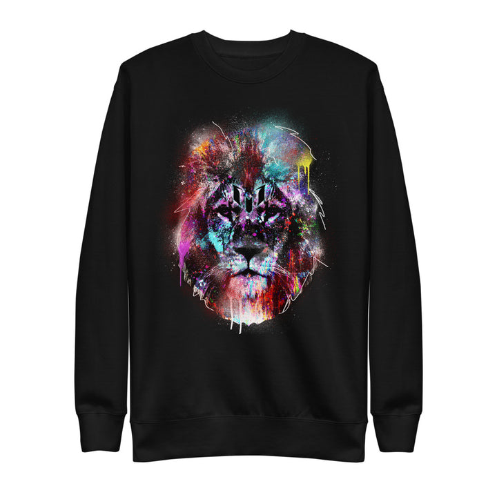 Colorful Lion Head Logo Crewneck Sweatshirt - Black
