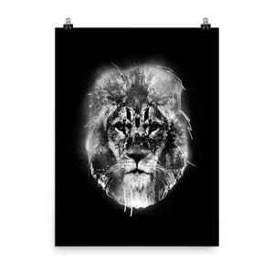 Black & White Lion Head Logo Poster