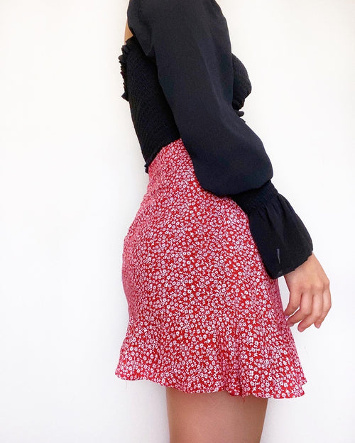 Vicky Floral Mini Skirt - Red - Kameli Boutique