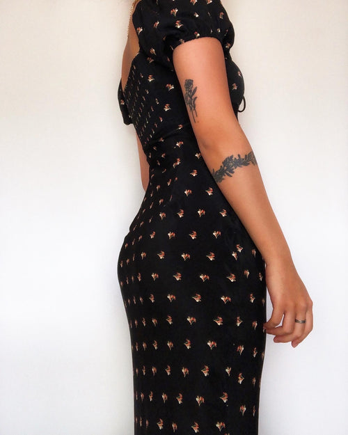Amber Black Floral Maxi Dress - Kameli Boutique