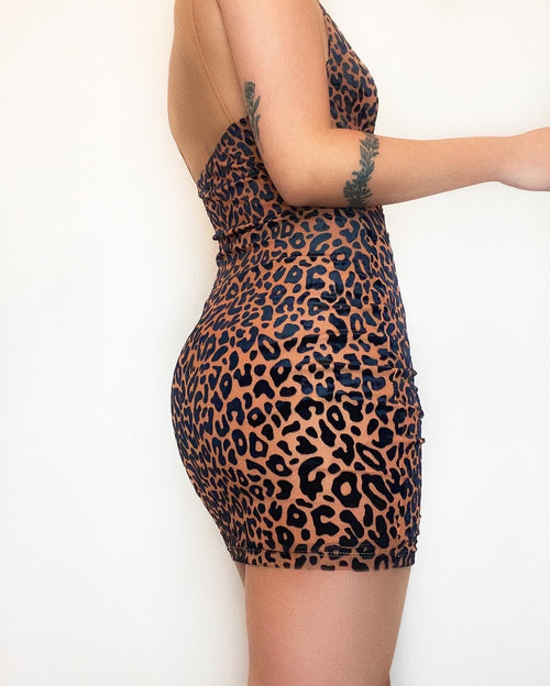 Joe Exotic Mini Dress - Brown