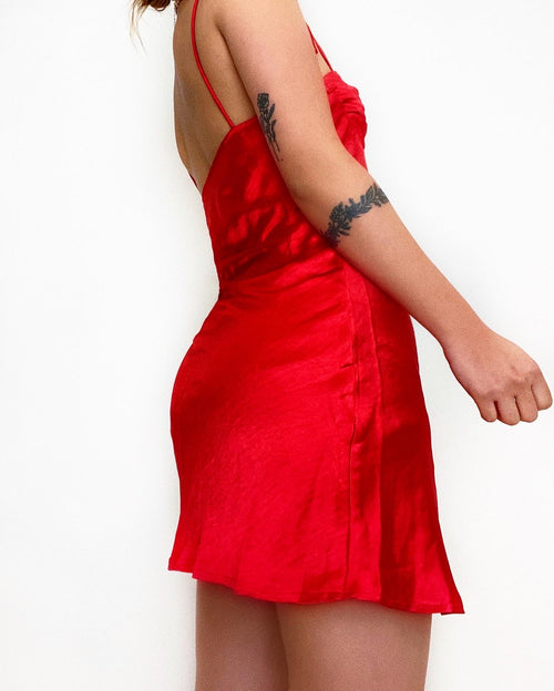 Oscar Satin Mini Dress - Red