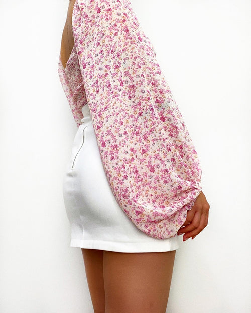 Valencia Crop Blouse - Pink Florals