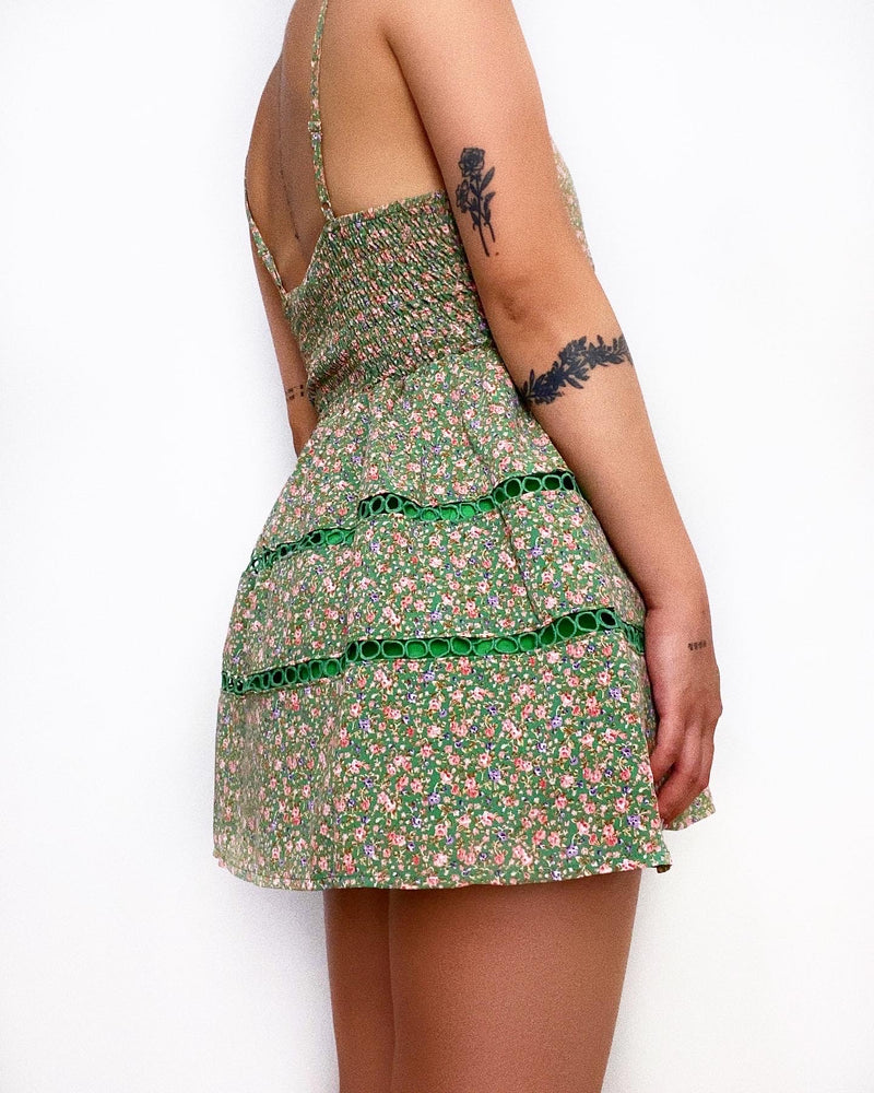 Idle Mini Dress - Green Florals