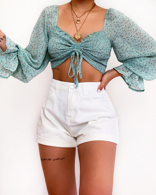 Dean Denim Shorts - White