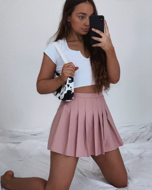 Clueless Pleated Mini Skirt - Pink