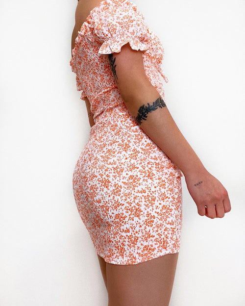 Lucia Mini Dress - White/Orange Florals