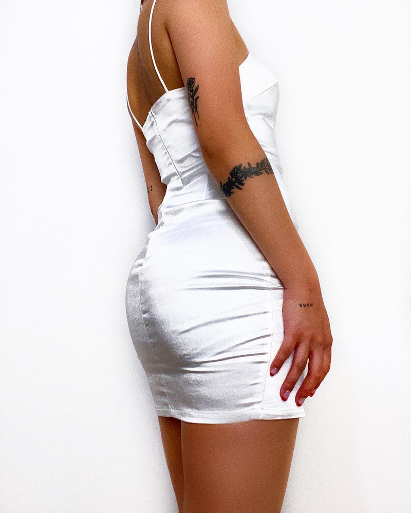 Rhonda Satin Mini Dress - White