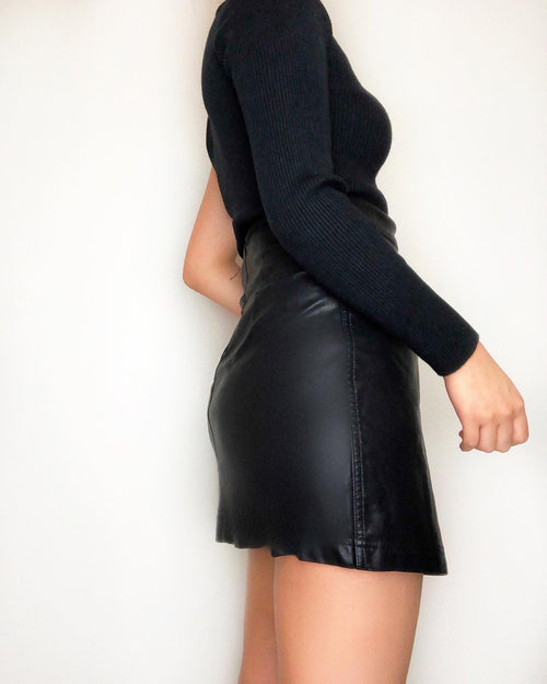 Gemini High Waist Leather Skirt - Kameli Boutique