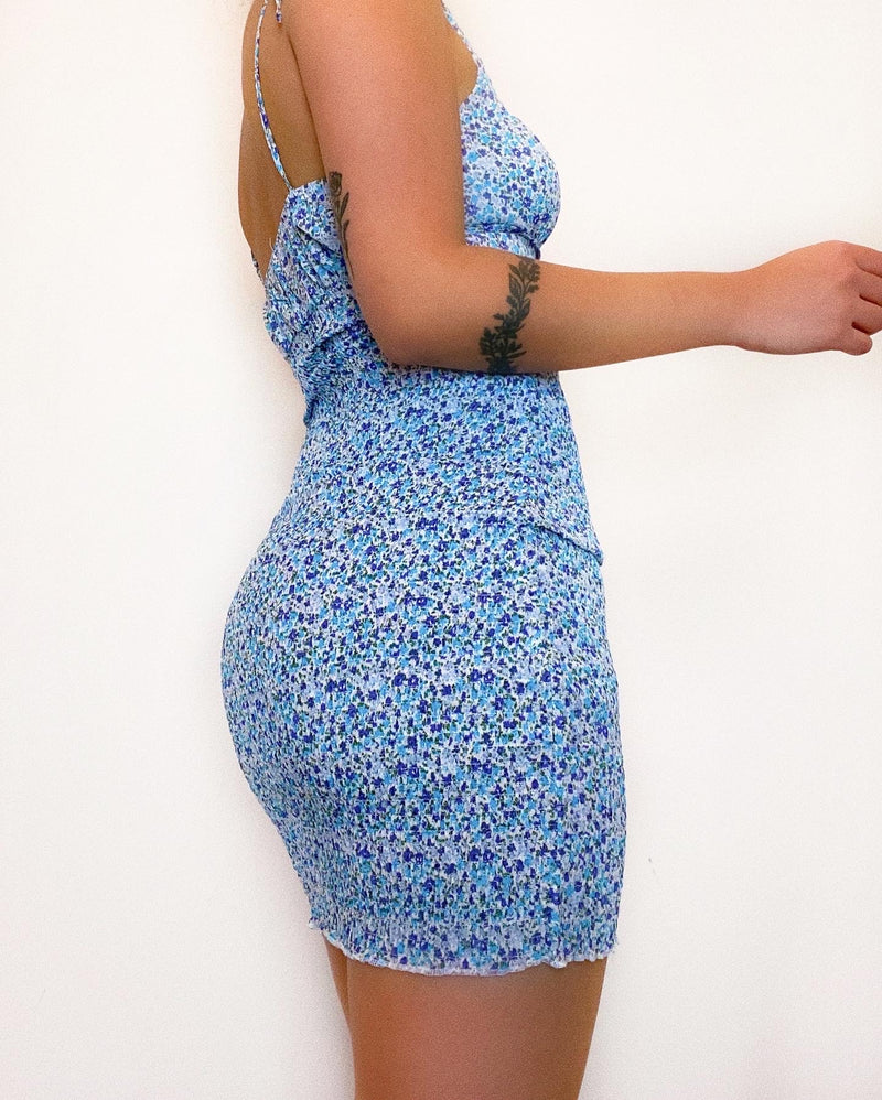Sasha Floral Mini Dress - Blue