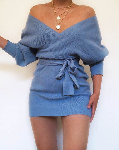 Lauren V- Neck Knit Dress in Sky Blue - Kameli Boutique
