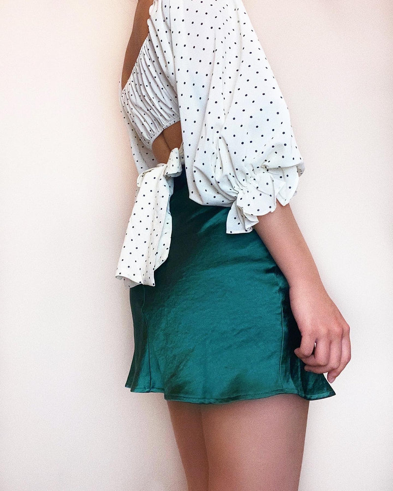 Kylie Crop Top - White Polka Dots
