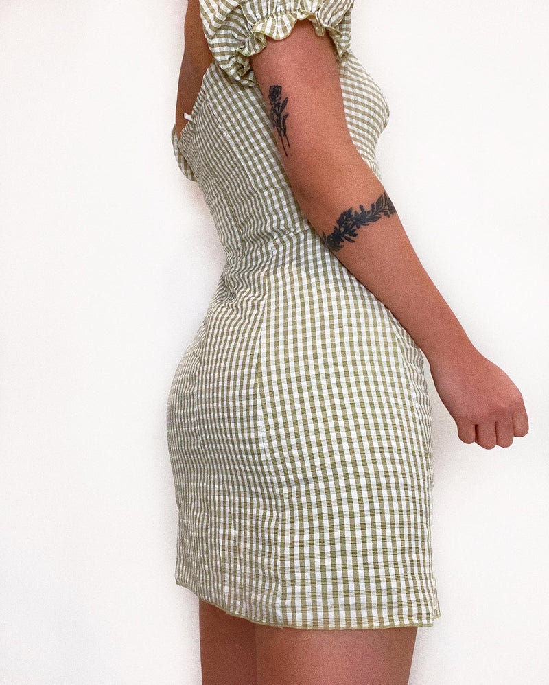 Megan Gingham Mini Dress - Green