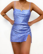 Rhianna Satin Mini Dress - Blue
