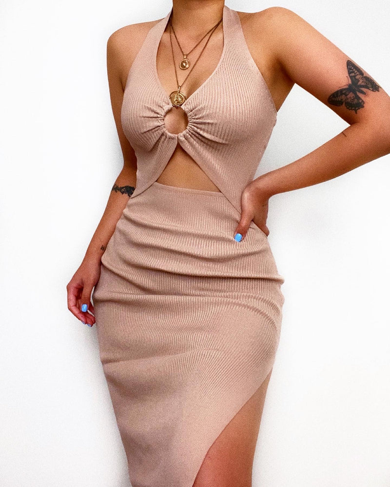 Averill Midi Dress - Beige