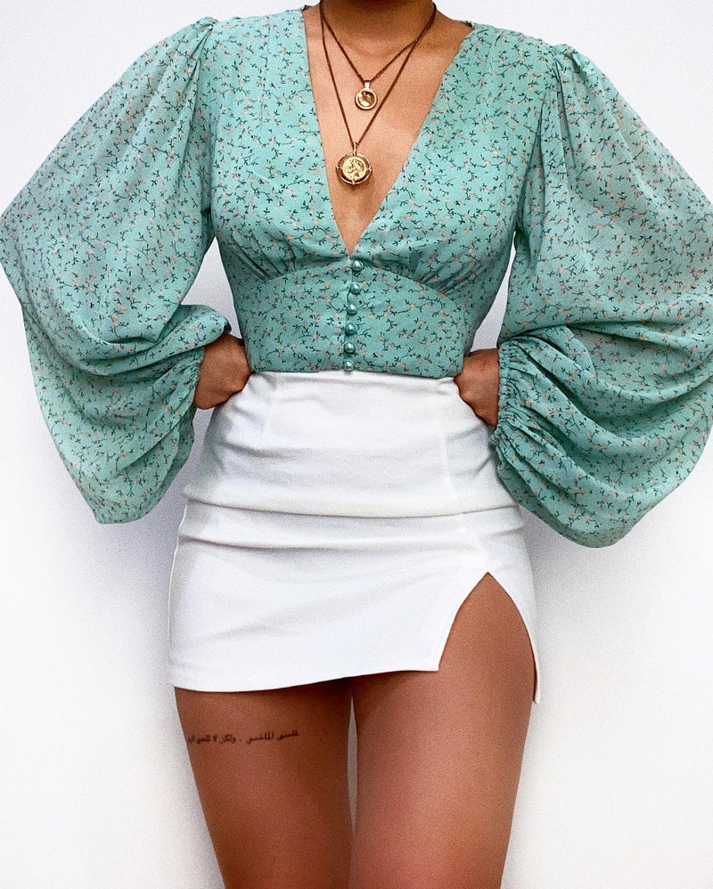 Bella Crop Blouse - Mint