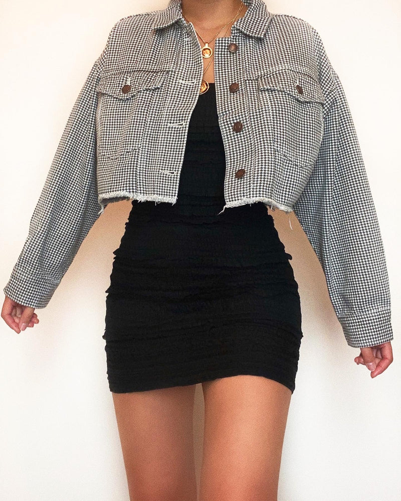 Everyday Crop Denim Jacket - Gingham
