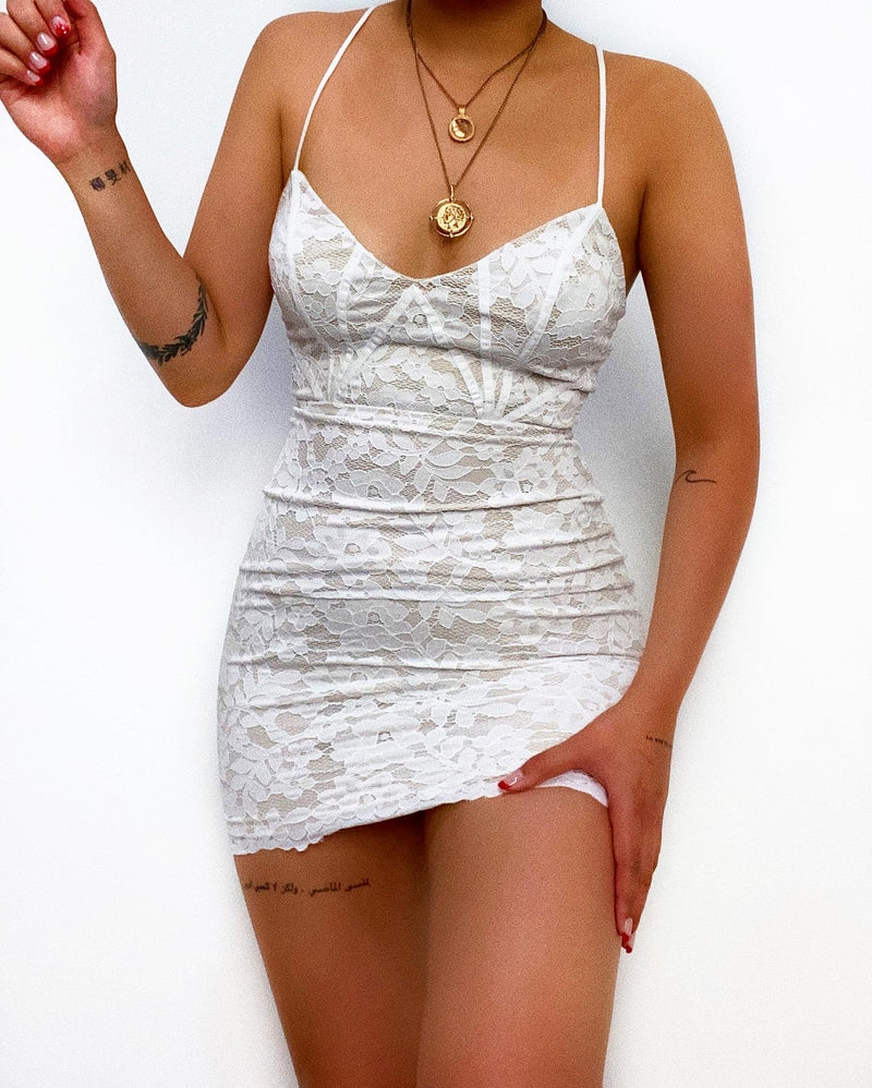 Tarsha Laced Mini Dress - White