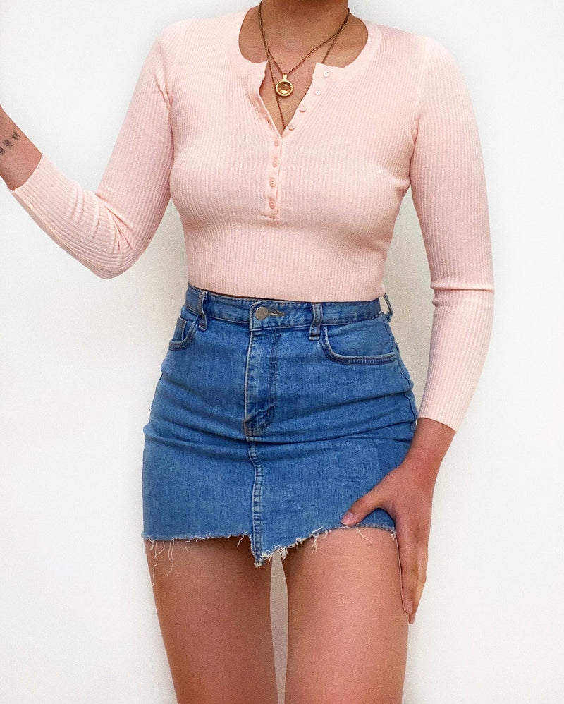 Mila Ribbed Knit Top - Apricot