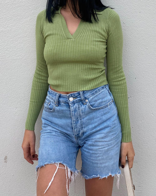 Kendall Ribbed Knit Top - Green