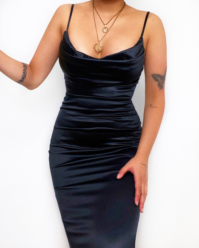 Powell Satin Midi Dress - Black
