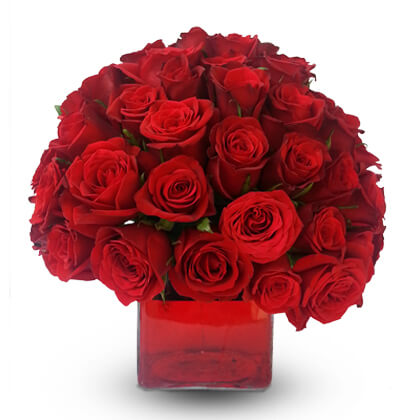 Red Roses In A Glass Vase - florista-in