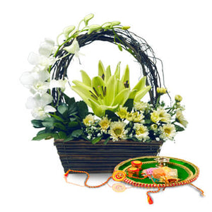 Rakhi Thali And Flowers - florista-in