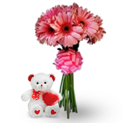 pink daisies & teddy bear - florista-in