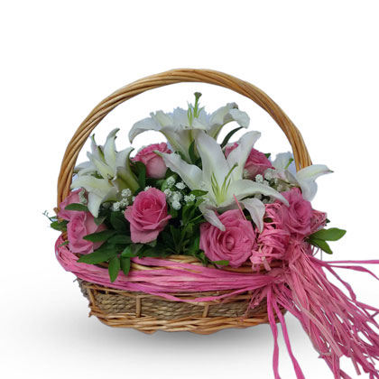 Plush floral  basket