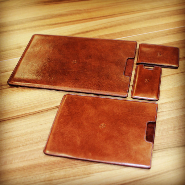 leather products in dark brown