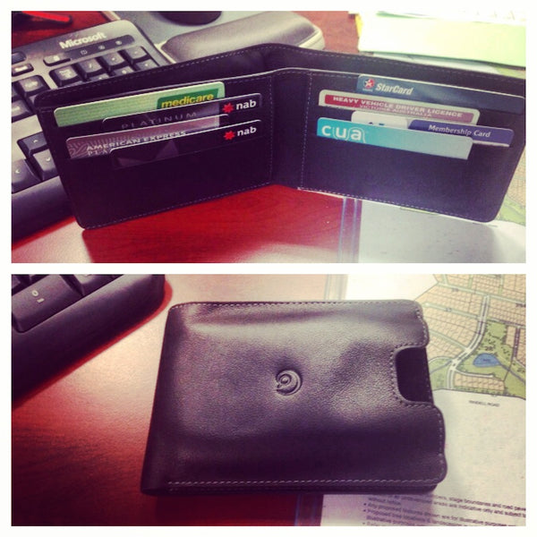 One of our awesome customers, Denis, sent us photos of his new leather wallet and iPhone 5 case.