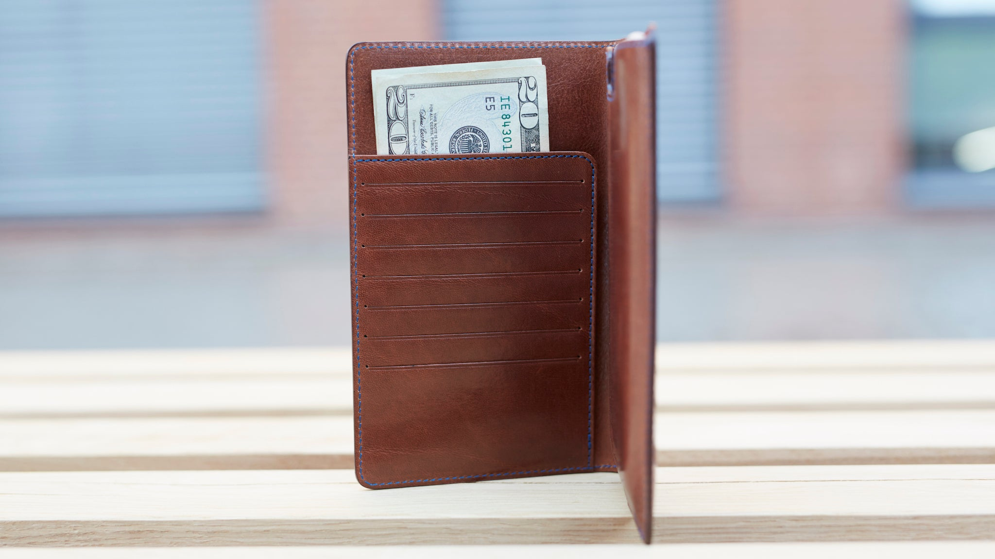 Leather wallet with iPhone 6 Plus case in dark brown