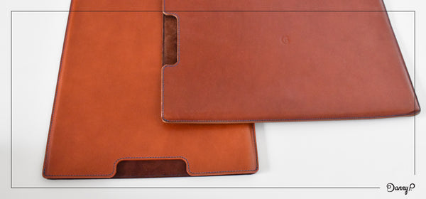 New (left) vs. old Danny P. leather MacBook Air sleeve