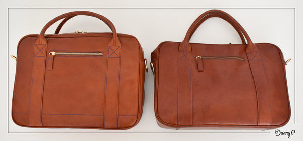 New (left) vs. 4 years old Danny P. leather messenger bag